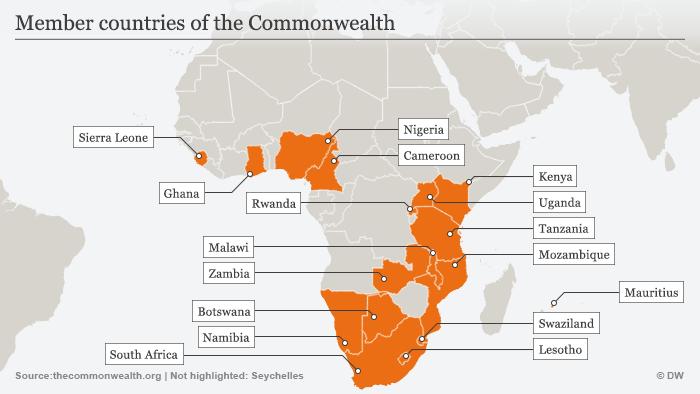 Infografik Karte Afrikanische Mitgliedsländer des Commonwealth Englisch