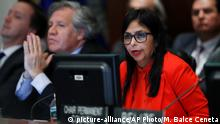 27.03.2017 Venezuela's Foreign Minister Delcy Rodriguez, right, with Secretary General of the Organization of American States Luis Almagro, left, speaks to the Permanent Council of the Organization of American States in Washington, Monday, March 27, 2017. (AP Photo/Manuel Balce Ceneta)