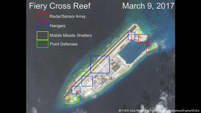 Satellitenfotos von AMTI/CSIS (CSIS Asia Maritime Transparency Initiative/DigitalGlobe)