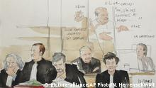 28.03.2017+++Paris, Frankreich+++ In this courtroom sketch dated Monday, March 13, 2017, attorney Isabelle Coutant-Peyre, foreground, first row right, listens along with her client, Venezuelan-born Ilich Ramirez Sanchez known as Carlos the Jackal, second row, during Sanchez's trial at a Paris courthouse, in France. Once the world's most-wanted fugitive, the man known as Carlos the Jackal appeared in a French court Monday for a deadly 1974 attack on a Paris shopping arcade, a trial that victims' families awaited for decades. (Noelle Herrenschmidt via AP)  