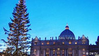 Im hinteren Teil des Bildes ist der Vatikan zu sehen. Im Vordergrund steht ein geschmückter Tannenbaum (Quelle: DW)