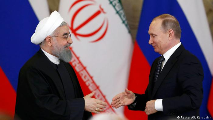 Hassan Rouhani and Vladimir Putin in Moscow