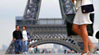 Legs and torso of a woman walking past the Eifel Tower with a couple in the background