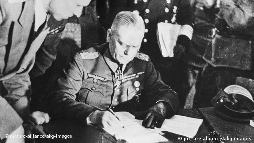 Field Marshal Wilhelm Keitel signs the unconditional surrender of the German Wehrmacht
