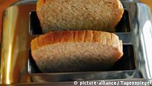 Toaster.# Symbolfoto Toast, Toaster, Haushaltsgerät, Küchengerät, Elektrogerät, Brot, Vollkorntoast. Aufnahme Dezember 2006. ©Kitty Kleist-Heinrich