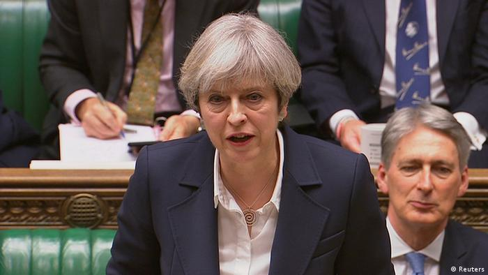 Britain's Prime Minister Theresa May speaks in Parliament as she announces that she has sent the letter to trigger the process of leaving the European Union in London