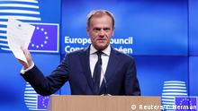 29.03.2017 *** European Council President Donald Tusk holds a news conference after receiving British Prime Minister Theresa May's Brexit letter in notice of the UK's intention to leave the bloc under Article 50 of the EU's Lisbon Treaty to EU Council President Donald Tusk in Brussels, Belgium March 29, 2017. REUTERS/Yves Herman