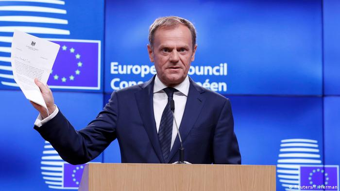 European Council President Donald Tusk holds a news conference after receiving British Prime Minister Theresa May's Brexit letter in notice of the UK's intention to leave the bloc