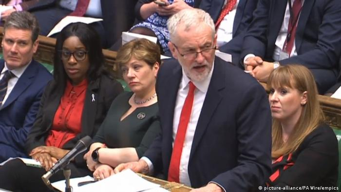 Labour Party leader Jeremy Corbyn replies to an announcement by Prime Minister Theresa May in the House of Commons