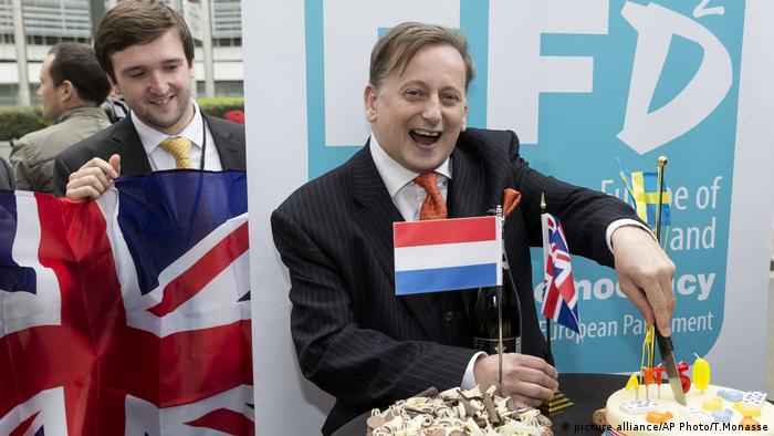 Ray Finch celebrates Brexit in Brussels