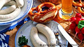 Veal sausage, pretzels, beer