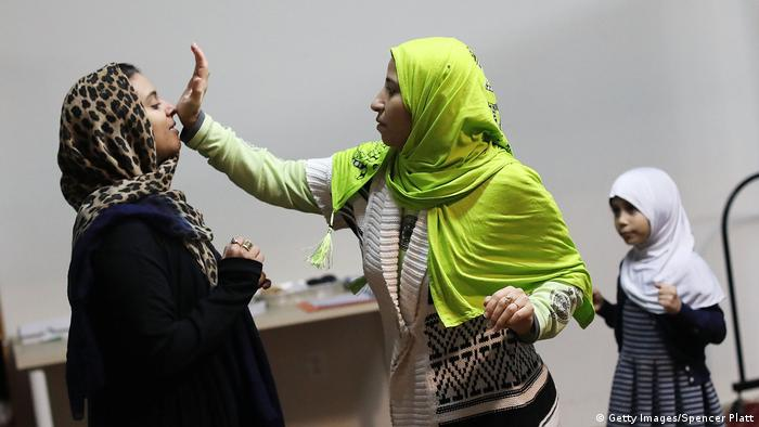Muslim women at a self defense class in New York City
