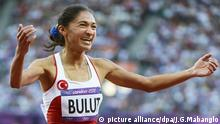 epa05199571 (FILE) A file picture dated 08 August 2012 of Turkey's Gamze Bulut celebrating after the women's 1,500m semi final during the Athletics, Track and Field events of the London 2012 Olympic Games at the Olympic Stadium in London, Britain. Gamze Bulut, who won the silver medal in the women's Olympic 1,500m race, has been provisionally suspended pending an IAAF investigation into a possible doping violation, media reports claimed on 07 March 2016. EPA/JOHN G.MABANGLO *** Local Caption *** 50474237 +++(c) dpa - Bildfunk+++  