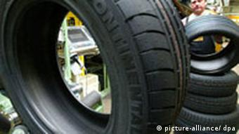 Tires at a Continental factory in Hanover, Germany