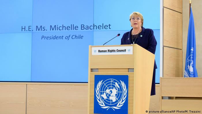 Schweiz Michelle Bachelet bei der Welthandelsorganisation in Genf (picture-alliance/AP Photo/M. Trezzini)