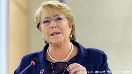 Schweiz Michelle Bachelet bei der Welthandelsorganisation in Genf (picture-alliance/AP Photo/M. Trezzini)