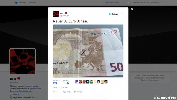 Screenshot Twitter DakiDax Neuer 50 Euro Schein (Twitter/DakiDax)