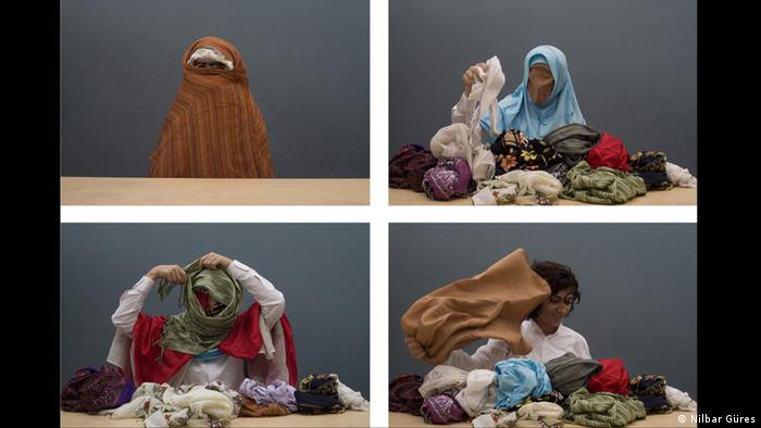 Four still images woman unwrapping veils (c): Nicole Tintera