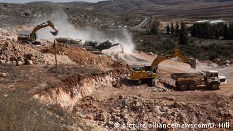 Building work for new Jewish settlements in the Shiloh settlement in the West Bank
