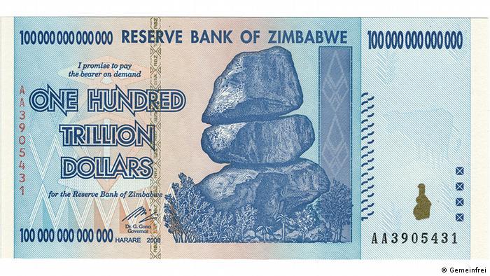 Novčanica od 100 bilijuna dolara Zimbabvea