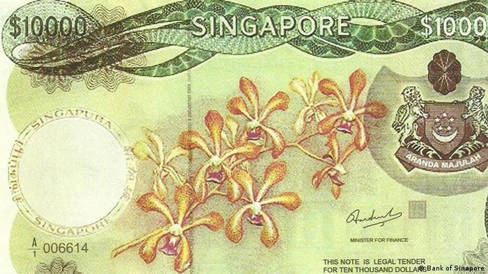 Sinapur 10.000 Dollar Schein wurde abgeschaft (Bank of Sinapore)