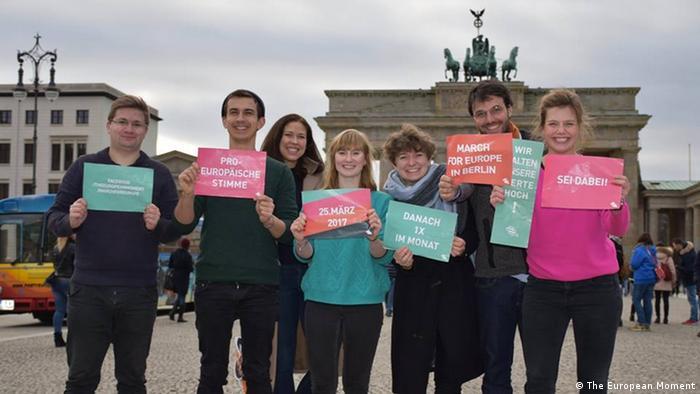 Aktivisten der Kampagne The European Moment