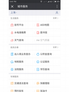 Screenshot App WeChat City Services