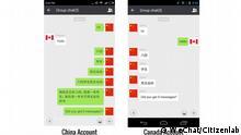 Description: WeChat Zensur Citizenlab Tite: WeChat Zensur Citizenlab Tags: WeChat, App, Chat, China, Monitoring, Censorship, Social Media, Citizen Lab Name of the photographer: Citizen Lab Pic taken: October 2016