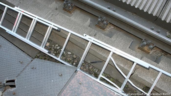 Ladder next to the tram tracks