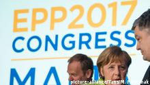 ST JULIAN'S, MALTA - MARCH 30, 2017: President of the European Council Donald Tusk, German chancellor Angela Merkel and Ukraine's president Petro Poroshenko (L-R) at the 2017 European People's Party (EPP) Congress. Mykhailo Palynchak/Press Office of the President of Ukraine/TASS  