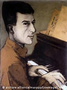 Litografie des Pianisten Maurice Ravel, der am Klavier sitzt und spielt und dabei den Blick zum Betrachter richtet