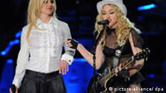 Madonna (R) performs with Britney Spears