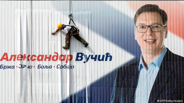 Serbien Präsidentschaftswahlen SNS Poster Aleksandar Vucic (AFP/Getty Images)
