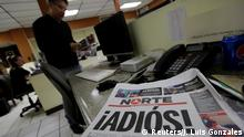 April 2, 2017 El Norte newspaper is pictured after the paper announced its closure due to what it says is a situation of violence against journalists in Ciudad Juarez, Mexico, April 2, 2017. The word reads, Goodbye!. REUTERS/Jose Luis Gonzalez TPX IMAGES OF THE DAY
