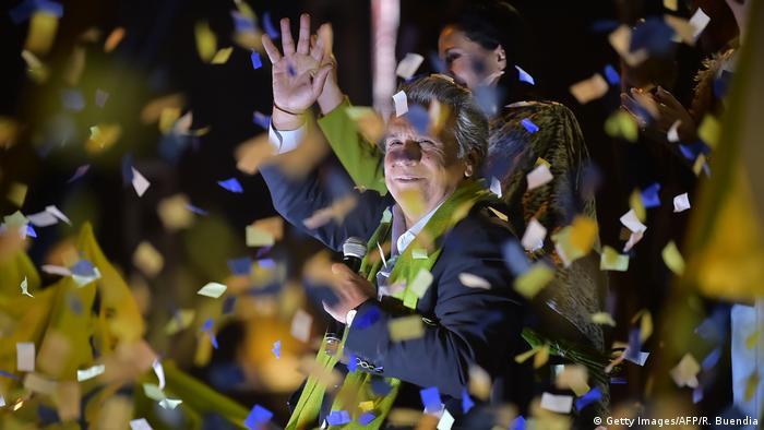 Ecuador Präsidentschaftswahlen Jubel Lenin Moreno (Getty Images/AFP/R. Buendia)