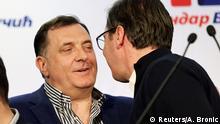 Serbien Prsäidentenwahl Milorad Dodik und Aleksandar Vucic in Belgrade