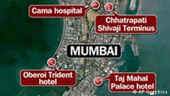 Map of Mumbai with sites of attack marked