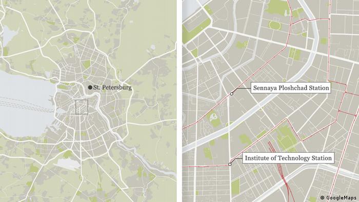 Karte Russland St Petersburg Anschlag 03.04.2017 Englisch (GoogleMaps)
