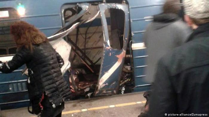 Взорванный вагон в метро в Петербурге