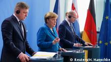 Slovakian Prime Minister Robert Fico (L to R), German Chancellor Angela Merkel and Czech Republic Prime Minister Bohuslav Sobotka attend a news conference at the Chancellery in Berlin, Germany, April 3, 2017. REUTERS/Hannibal Hanschke