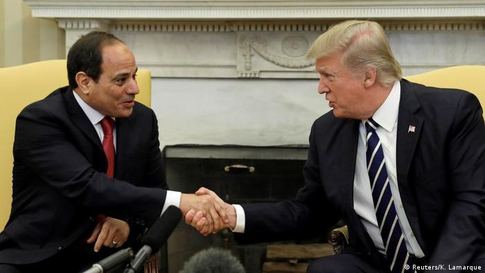 الرئيس الأمريكي ونالد ترامب ونظيره المصري عبد الفتاح السيسي - لقاء في الثالث من أبريل/ نيسان 2017