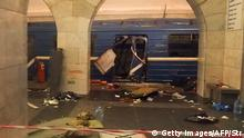 03.04.2017 A picture shows the damaged train carriage at Technological Institute metro station in Saint Petersburg on April 3, 2017. Around 10 people were feared dead and dozens injured Monday after an explosion rocked the metro system in Russia's second city Saint Petersburg, according to authorities, who were not ruling out a terror attack. / AFP PHOTO / STR / ALTERNATIVE CROP (Photo credit should read STR/AFP/Getty Images)