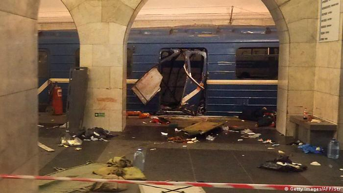 A picture shows the damaged train carriage at Technological Institute metro station in Saint Petersburg on April 3, 2017.