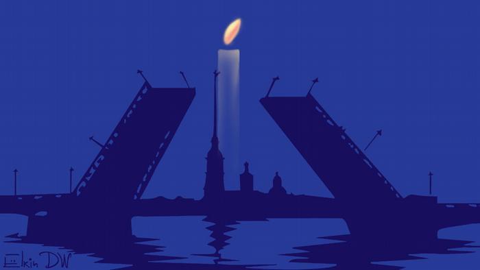 Разводной мост в Санкт-Петербурге, за ним горящая свеча