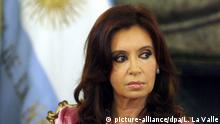 epa05304983 (FILE) A file picture dated on 27 December 2007 shows former Argentinian President Cristina Fernandez de Kirchner during an event in Buenos Aires, Argentina. According to reports on 13 May 2016, Fernandez de Kirchner will be judged over alleged damages against the State in a case in which she is being investigated over irregularities in the operations of the Central Bank during her presidency (2007-2015). EPA/LEO LA VALLE |