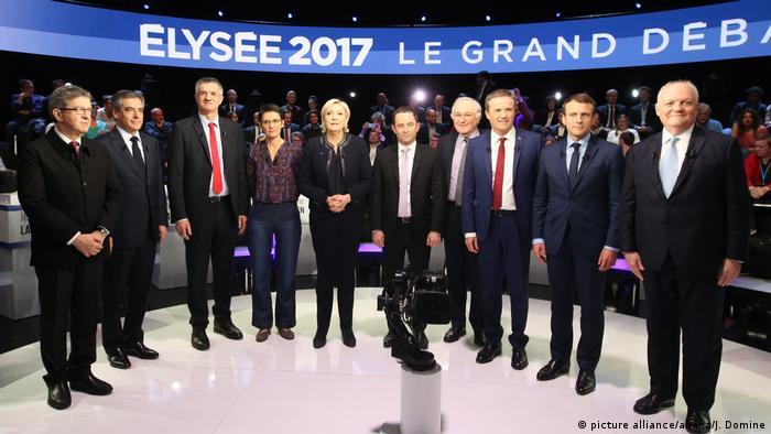 Frankreich elf Präsidentschaftskandidaten treten in TV-Debatte gegeneinander an (picture alliance/abaca/J. Domine)