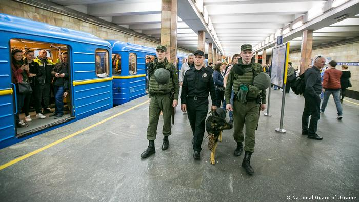 Soldiers of the National Guard of Ukraine participate in security operations on the Kyiv metro.