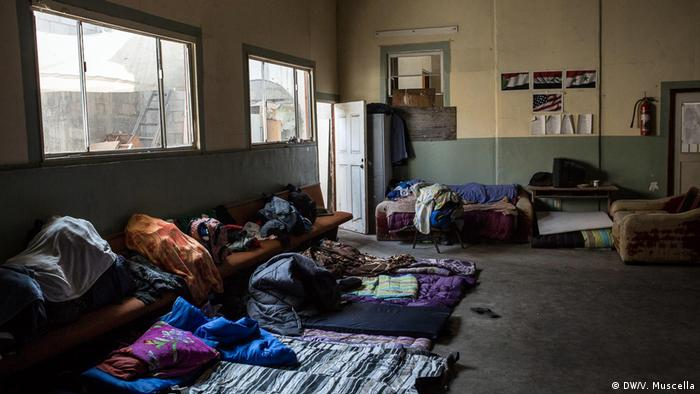 Bedclothes on furniture and the floor of the Emmanuel Baptist Center in Tijuana, Mexico