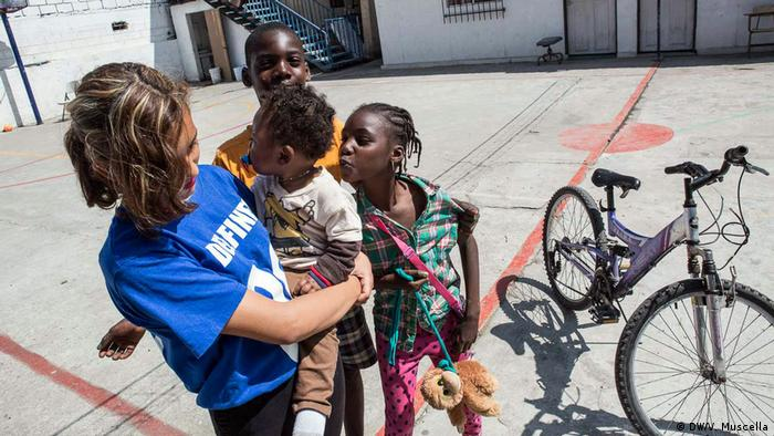 Children in the courtyard of the Emmanuel Baptist Center, which has become a shelter for migrants in Tijuana, Mexico