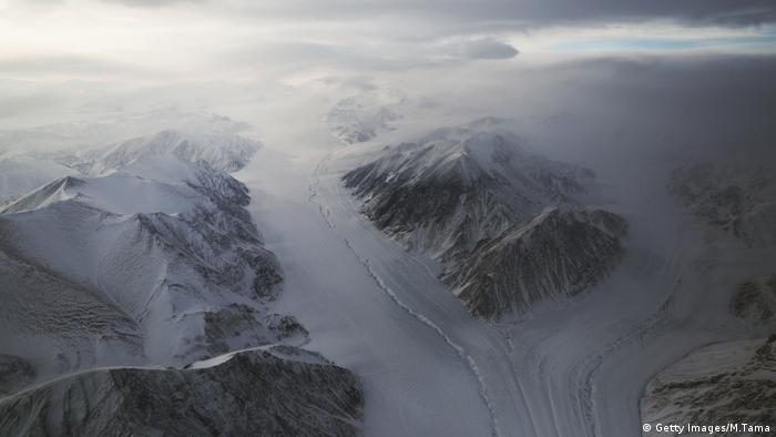 NASA's Operation IceBridge research aircraft on March 29, 2017 above Ellesmere Island, Canada.